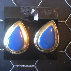 Blue & gold lining teardrop pierced earrings